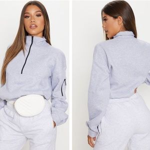 Pretty Little Thing Grey Oversized Zip Up Sweater